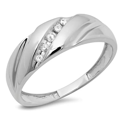 c05b68298a96f Dazzlingrock Collection 0.08 Carat (ctw) 10K Gold Round Cut White Diamond  Men's Fashion 5 Stone Wedding Band