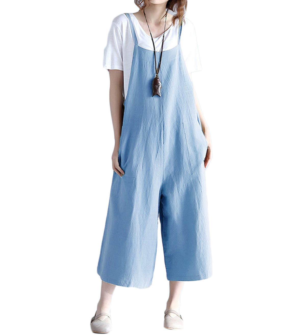Harri me Women Summer Loose Linen Suspender Overalls Jumpsuit Bib Trousers Wide Leg Pants Plus Size