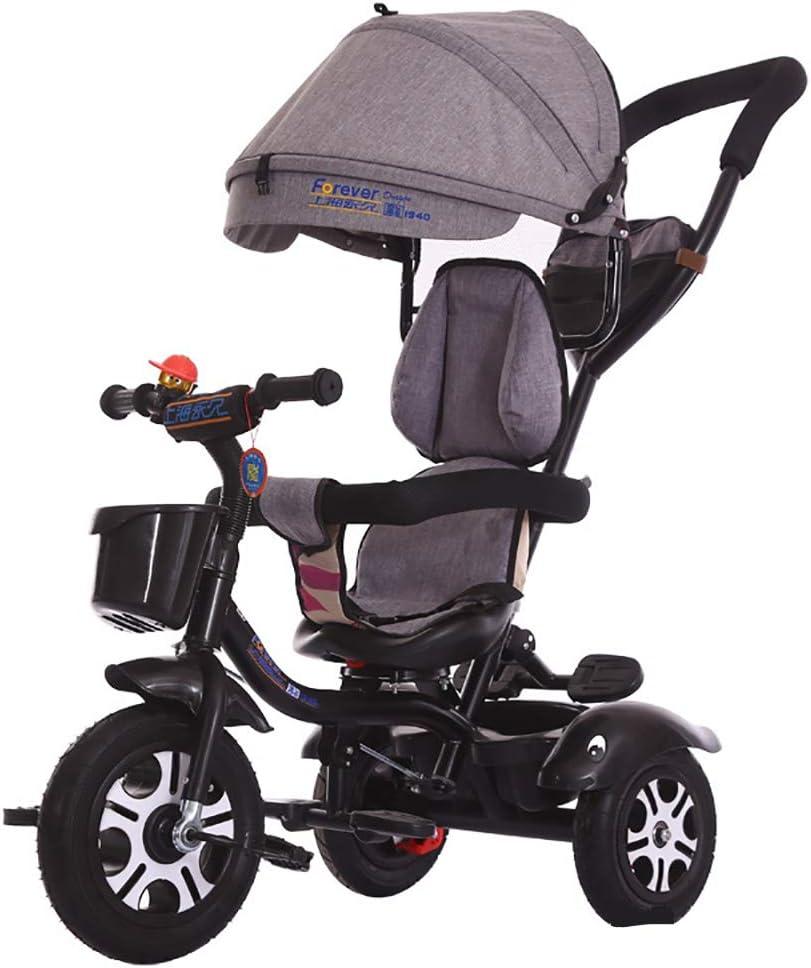JINHH Triciclo Evolutivo, 4 en 1 Triciclo Capota extraíble y Plegable Incluye Barra Telescópica con Mango y Cubierta de Lluvia(1-6 año) Plegable triciclos, Red