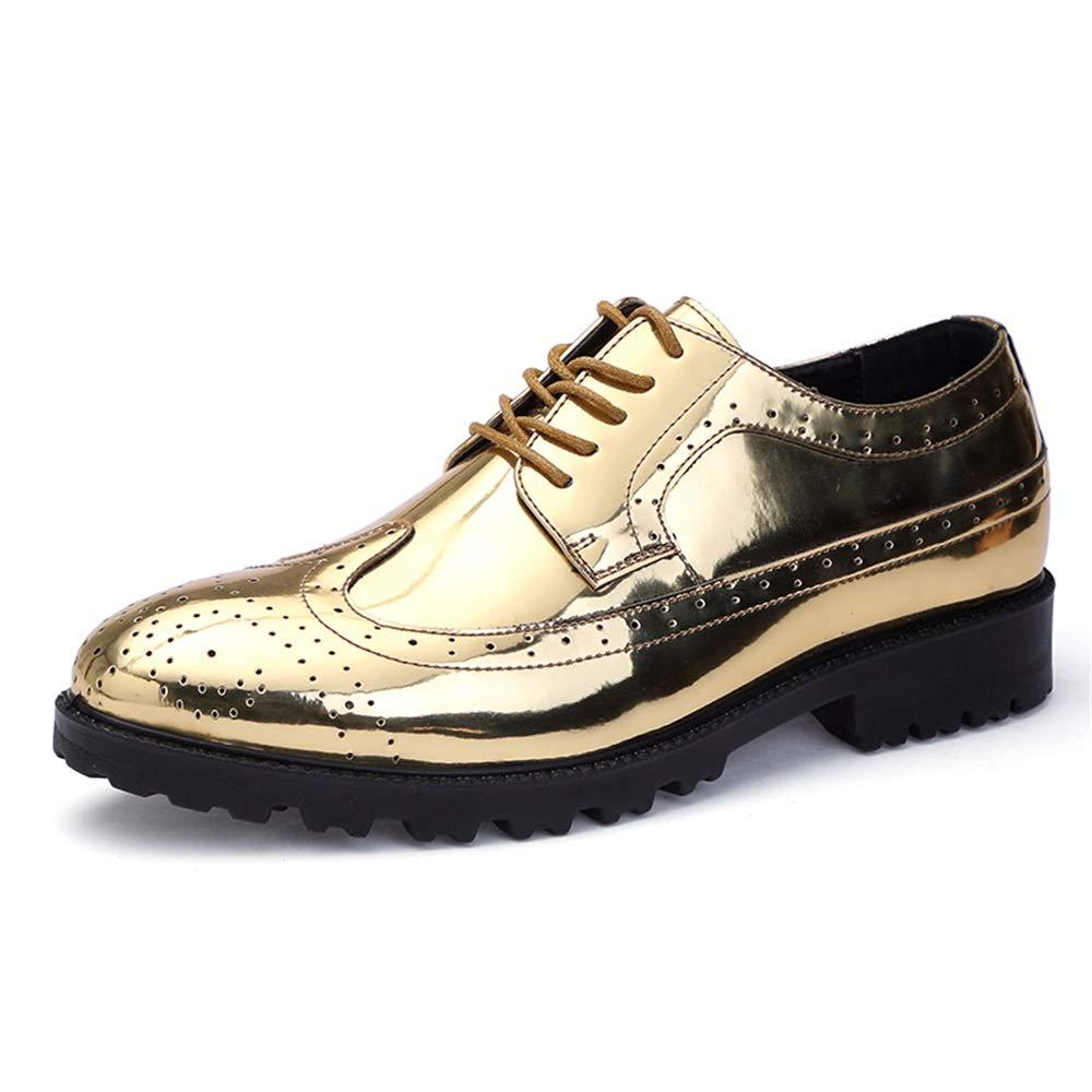 Havanadd Lederschuhe für Männer Oxford Classic Carvings Brogue Lackleder Große Größenschuhe Business Oxford Schuhe (Farbe   Gold, Größe   46 EU)