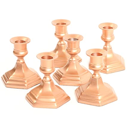 Koyal Wholesale Hexagon Taper Candle Holders, Set of 6 Metal Candle Bases,  Metallic Candlestick Holders (Copper, 4