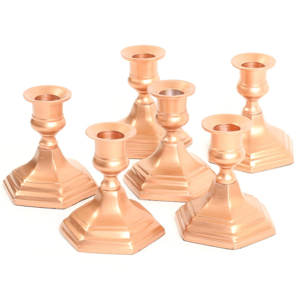 Koyal Wholesale Hexagon Taper Candle Holders, Set of 6 Metal Candle Bases, Metallic Candlestick Holders (Copper, 4'')