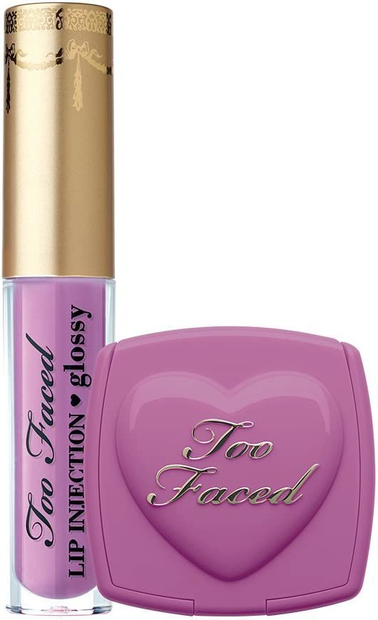 Too Faced Naughty Kisses Sweet Cheeks Set Deluxe Lip Injection in Like a Boss and Blush In Dream Lover