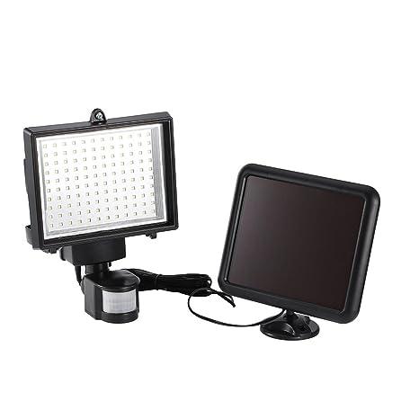 Foco Solar 120 LED, Luces Solares Led Exterior con Sensor de Movimiento Luz Solar de