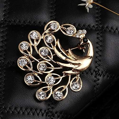 XZROOKEI Gold Farbe Emaille Pfau Broschen Pin Kinder Mantel Tasche Abzeichen Modeschmuck Niedlichen Tier Brosche Unisex Kristall Broches