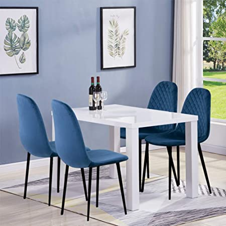Goldfan White High Gloss Dining Table And Chairs Set 4 Modern Rectangular Kitchen Table And Blue Velvet Chairs Set For Dining Room Office Lounge Amazon Co Uk Kitchen Home