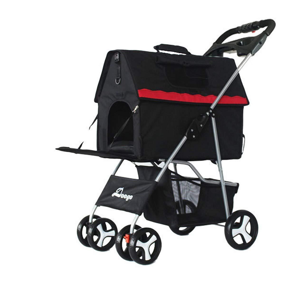 BLACK PLDDY Pet Trolley Cat Dog Carts Carrier Split Type Pet Pushchair Pet Stroller Dog Gram Multifunction For Small Dogs 10kg 4 Wheel (color   BLACK)