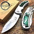"MOON KNIVES Elk Ridge 4.5"" Closed Spring Assisted Rescue Pocket Folding Knife [Green]"