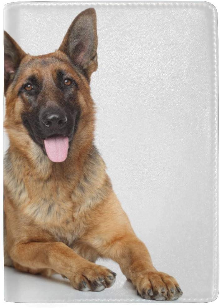 Leather Passport Holder Case Running Shepherd Dog Stylish Pu Leather Travel Accessories Family Passport Cover For Women Men