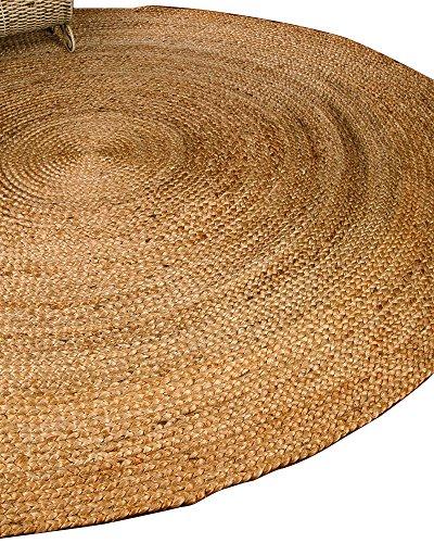 NaturalAreaRugs Elsinore Jute Round Rug, 100% Natural Jute, Hand Braided by Artisan Rug Maker, 6′ Round