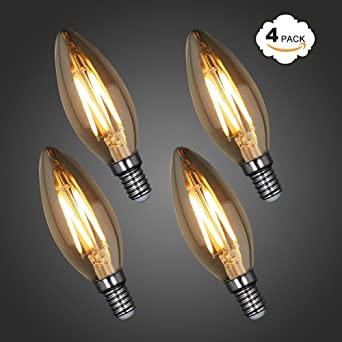 Princeway 4X Paquete Vintage C35 4W Bombillas Filamento LED Vela- Antigüedad Bombilla con E14 Casquillo de ...