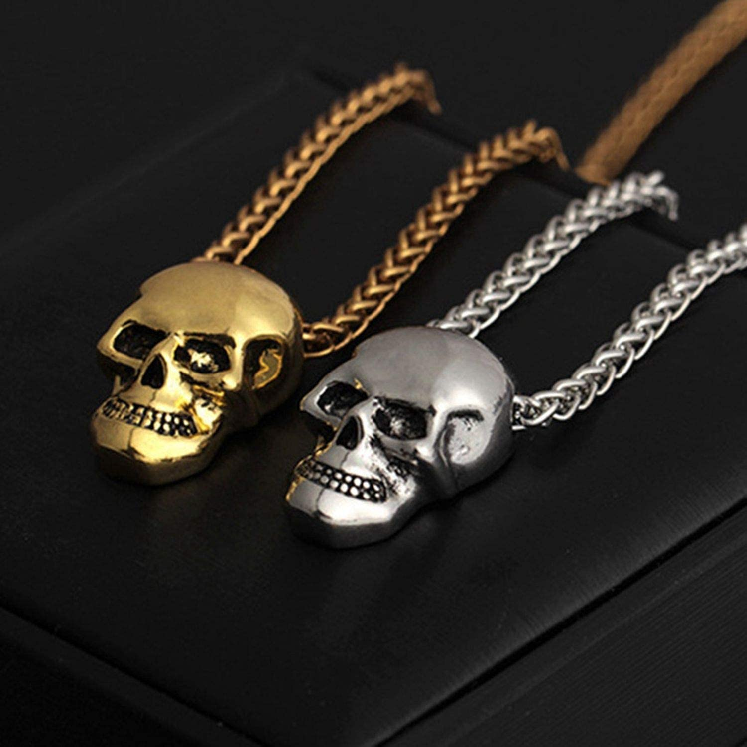 Halloween Jewelry Skull Necklace Stainless Steel Gothic Biker Pendant /& Chain For Men//Women