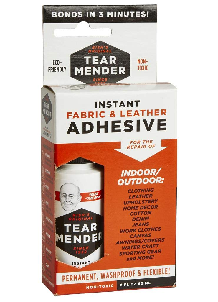 Tear Mender Instant Fabric & Leather Adhesive Kit with Patch for Jeans, 2 oz Bottle, TM-3 by Tear Mender