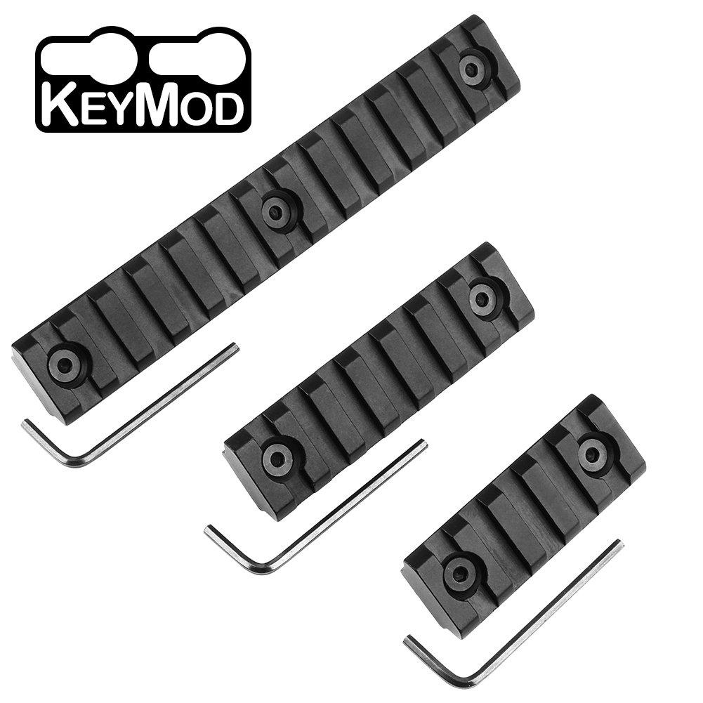VAGREEZ Keymod Picatinny Rail Sections 5-Slot 7-Slot 13-Slot Aluminum Keymod Rail Mount for Handguard Mount System with 7 Set Screws & Nuts, 3 Allen Wrenchs (Black)
