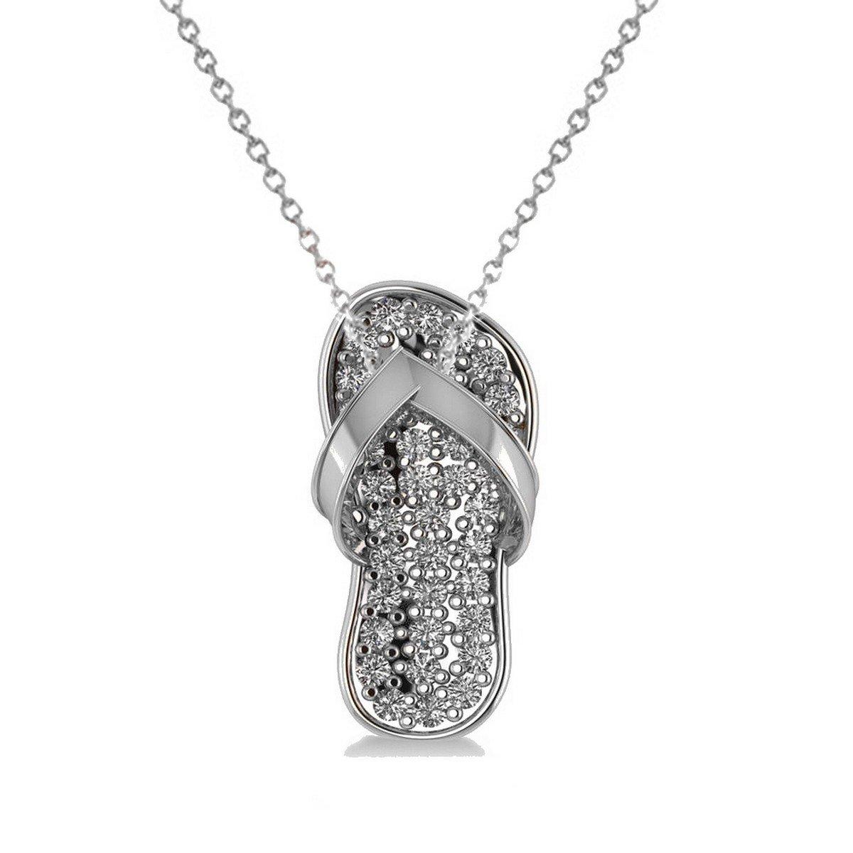 Allurez Diamond Summer Flip-Flop Pendant Charm Necklace in 14k White Gold (0.76ct)