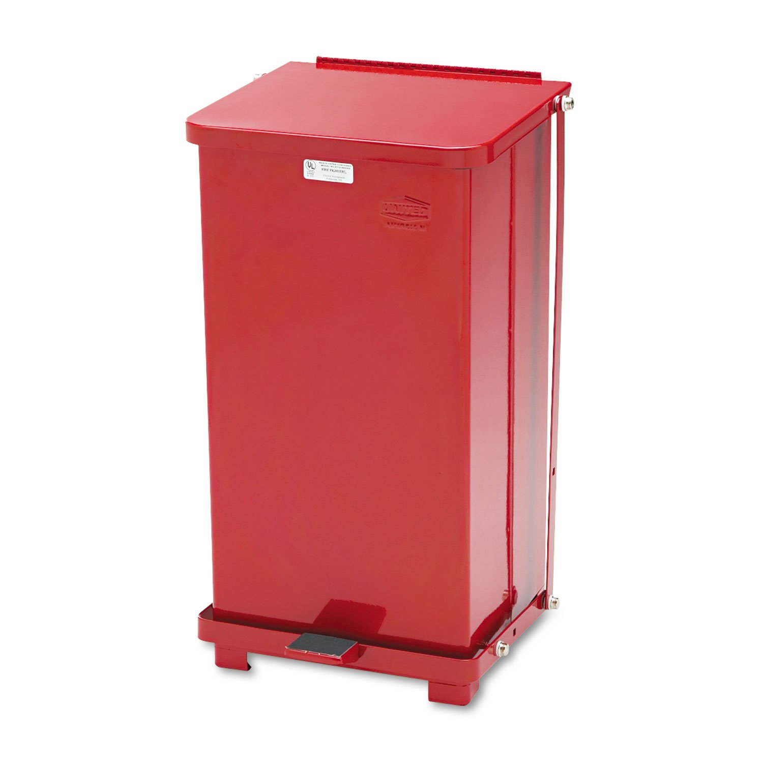 Rubbermaid Commercial Defenders Biohazard Square Red Steel Step Can, 12 gal