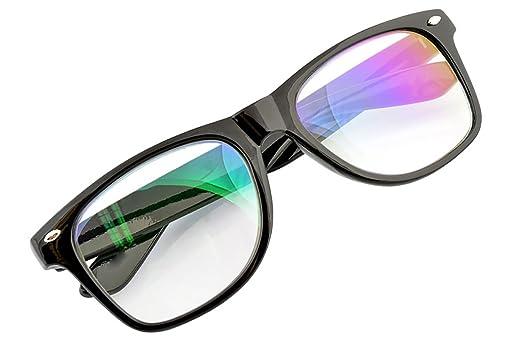 Lentille Claire Lunettes Anti Glare Reading Computer, Gaming, TV, Glasses UV Anti Radia Reflex pour Retro Vintage lunettes Hommes Femmes MFAZ Morefaz Ltd (Retro Black)