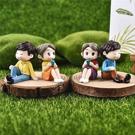 KWOSJYAL 2 Unidades Resina Dulce Pareja Pequeñas Esculturas Boda Hogar Jardín Decoración Adornos Mini Artesanías Bonsai Micro Paisaje DIY Combinación Artesanal: Amazon.es: Hogar