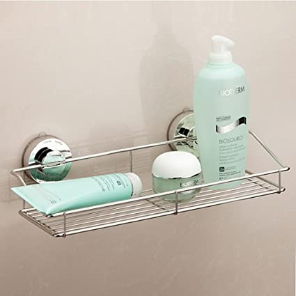 Bon K Steel Stainless Steel Suction Cup Shower Caddy Basket For Shampoo  Rustproof Soap Dish Rectangle