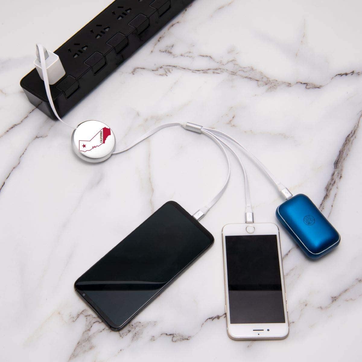 California Round Telescopic Aluminum Alloy Shell Charging Cable Three-in-One Data USB Cable Phone Charger