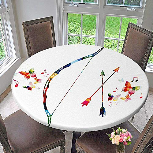 Bow Large Ships Floral (Round Premium Tablecloth Abstract Unusual Bow and Arrow with Butterflies Music Notes Floral Design Multicolor Stain Resistant 35.5
