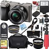 Sony Alpha a6000 24.3MP Wi-Fi Mirrorless Digital Camera + 16-50mm Lens Kit (Grey) +64GB SD Card + DSLR Photo Bag + Extra Battery+Wide Angle Lens+2x Telephoto Lens+Flash+Remote+Tripod Executive Bundle