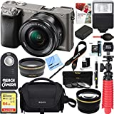 Sony Alpha a6000 24.3MP Wi-Fi Mirrorless Digital Camera + 16-50mm Lens Kit (Grey) +64GB SD Card + DSLR Photo Bag + Extra Battery+Wide Angle Lens+2x Telephoto Lens+Flash+Remote+Tripod Executive Bundle