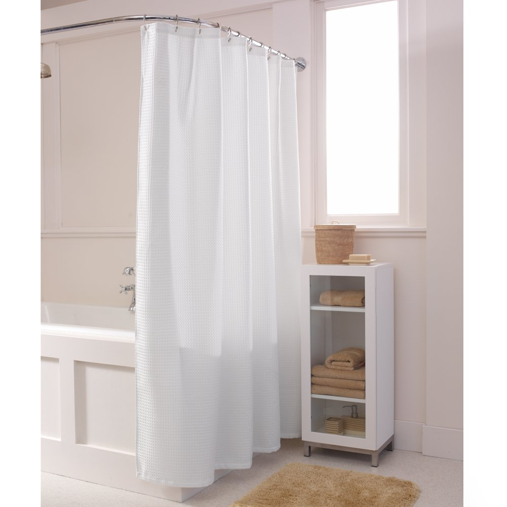 Amazoncom Maytex Textured Waffle Fabric Shower Curtain White - Beige and gray shower curtain