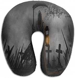 Emvency U-Shaped Travel Neck Support Pillow Haunted Grim Reaper Graveyard Scary Airplane 12x11.5 Inch Soft U-Pillows with Rebound Material for Kids Adults