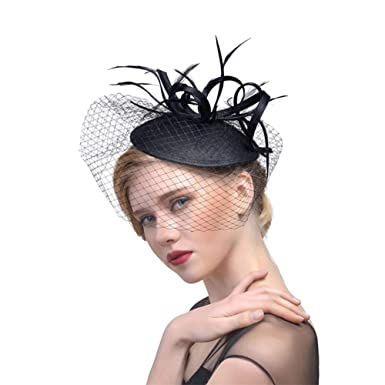 ZYCC Vintage Fascinators Veil Looped Strips Flower Feather Pillbox Hat  Wedding Derby Formal Occasion (Black 1ae49e3a53f