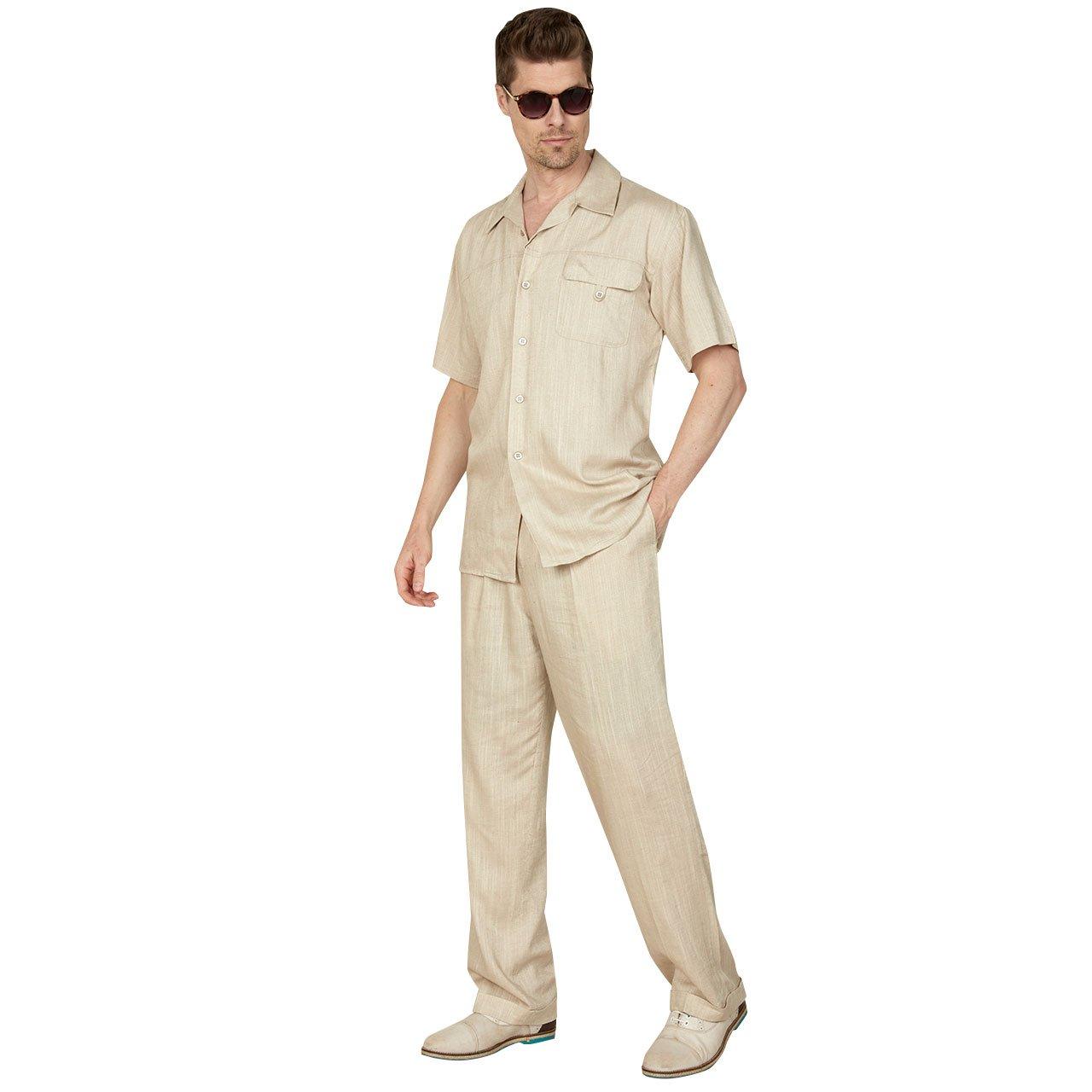 Mens Casual Linen/Cotton Blend Suit With 1-Button Flap Pocket Flap Pocket, Natural L 34/32