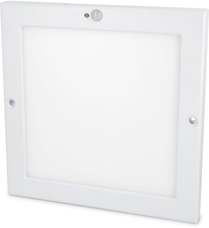 Ultraslim LED Sensor 18W Panel Deckenleuchte - mit Bewegungsmelder + Dämmerungssensor - eingebauter LED Trafo - (warmweiß (3000 K)) [Energieklasse A+] HAVA