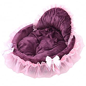 Amazon.com : Dog Cat Bed Dog Bed Fleece Sweet Sleeping Beds Mat with Bowknot Lace Dogs Bed for Puppy Small Dog Cat Pet Supply 80104 Pink About46x43cm : Pet ...