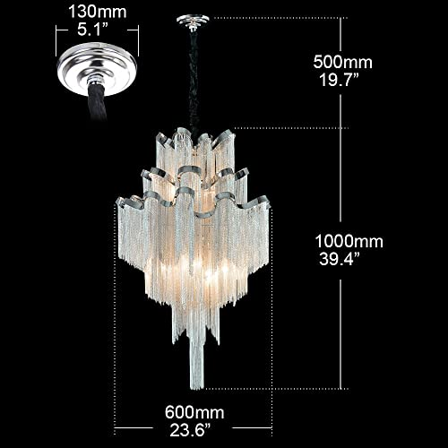 DEARLAN Chandeliers Modern Contemporary Chandelier 8 Lights Island Aluminum Chain Pendant Ceiling Lighting Fixture for Dining Room Living Room Bedroom Hotel Hallway W23.6 H59.1