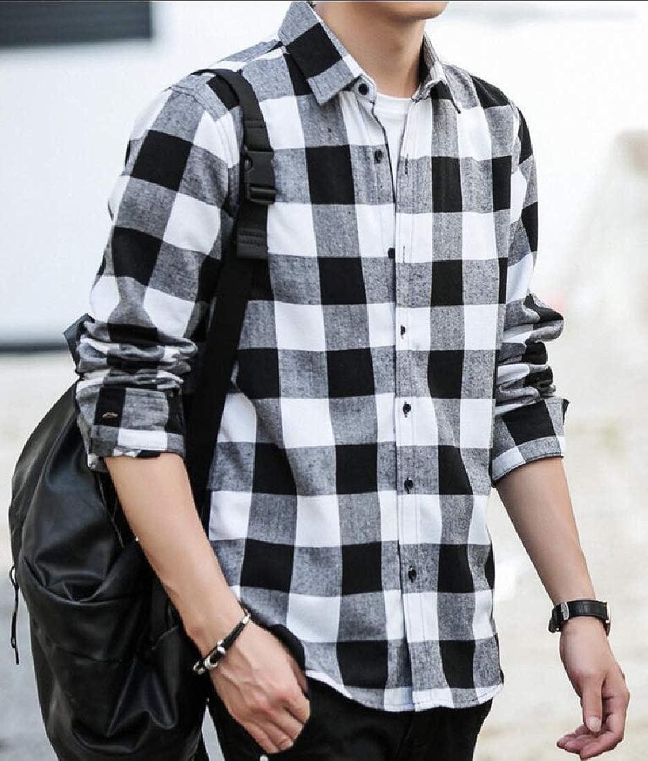 GAGA Mens Classic Shirt Slim Fit Long Sleeve Plaid Button Down Shirts