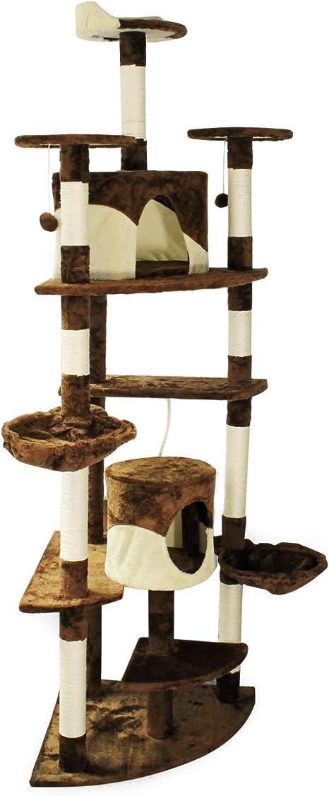 Árbol rascador para gatos de esquina 200cm Beis/marrón Accesorios ...