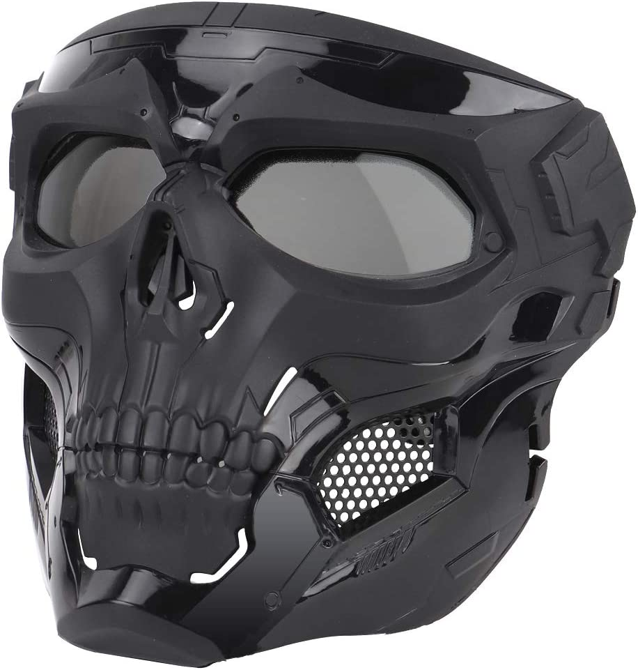 Anyoupin Airsoft Mask,Full Face Masks Skull Skeleton with Goggles Impact Resistant Army Fans Supplies Tactical Mask for Halloween Paintball Game Movie Props Party and Other Outdoor Activities