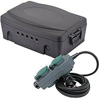 Electraline 300174 weerbestendige box/aansluitkast voor elektrische IP54 met stekkerdoos 4-voudig waterdicht 5 m
