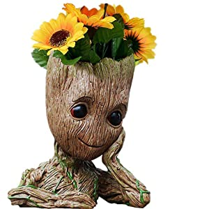 """Best Christmas Gift Baby Groot pens Holder Organizer or Succulent Flowers Pot with Drainage Hole The Guardians of Galaxy Tree Man Action Figures 6"""" (Grayish Brown)"""