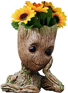 B-Best Guardians of The Galaxy Baby Groot Pens Holder Desk or Cute Planters Flower Pot with Drainage Hole Perfect for a Tiny Succulents Plants and Best Christmas Gift Idea 6""