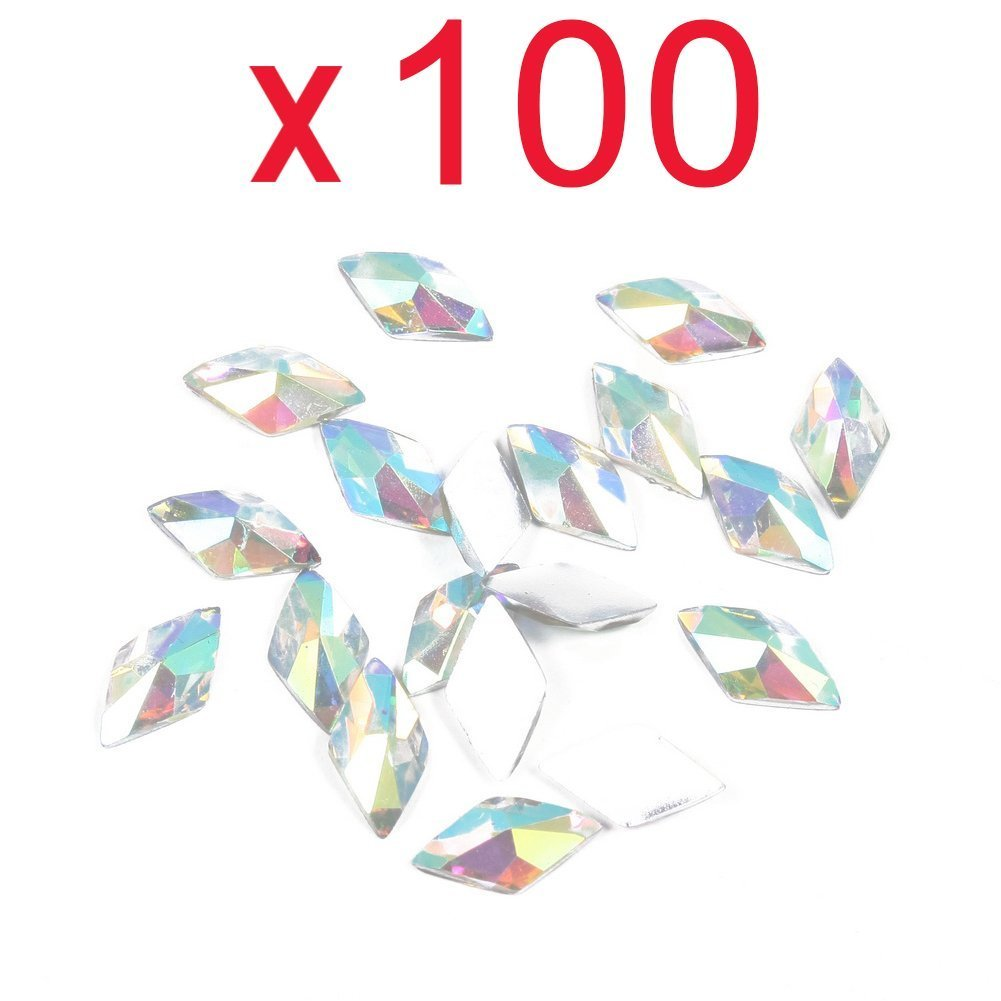 Well-Goal 100pcs Colorful Rhombus Flat Back Rhinestones Flatback acrylic Gems for Nail Art