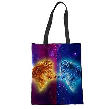 Einkaufstasche Tier Einhorn Pferd Wolf Tiger Muster Shopper Tasche ...