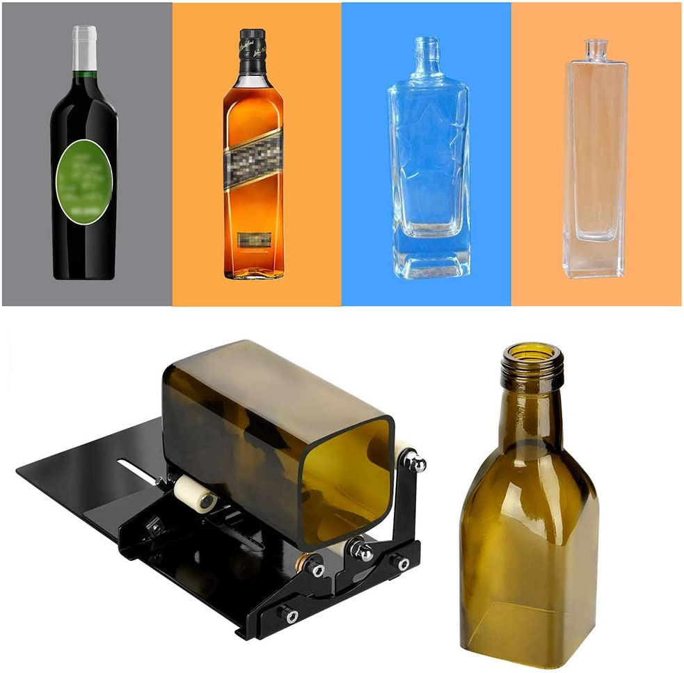Cortador de botellas profesional, kit de herramientas de corte de botellas de vino para botellas cuadradas / redondas, máquina de fabricación de bricolaje con accesorios de cortadores de vidrio