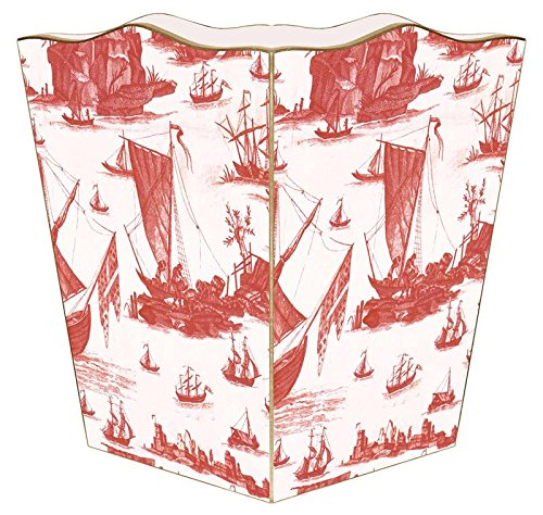 - WB857 - Red Boat Toile Wastepaper Basket