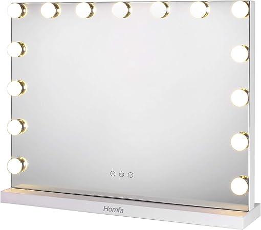 Homfa Miroir De Maquillage Miroir De Courtoisie Eclairage Ajustable 15 X 28w Led Lumieres Miroir Lumineux Style Hollywood 58 X 43cm