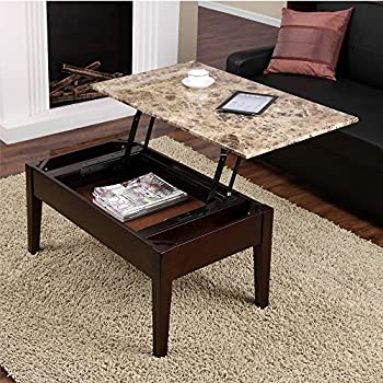 Amazoncom Dorel Living Faux Marble Lift Top Coffee Table