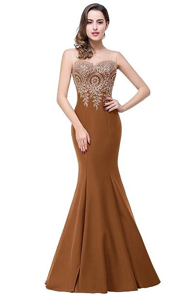 Amazon.com: Babyonline Vestido de noche de sirena para mujer ...
