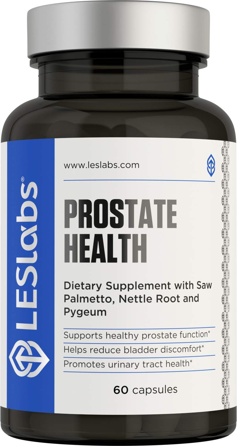 LES Labs Prostate Health, Prostate Supplement for Bladder Discomfort & Urinary Tract Health, Fewer Bathroom Visits with Saw Palmetto, Pygeum, Beta Sitosterol, 60 Capsules by LES Labs