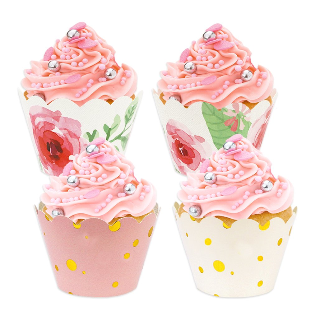 Amazon.com: BAKHUK 48 Pack Floral Cupcake Wrappers, Pink and Gold ...