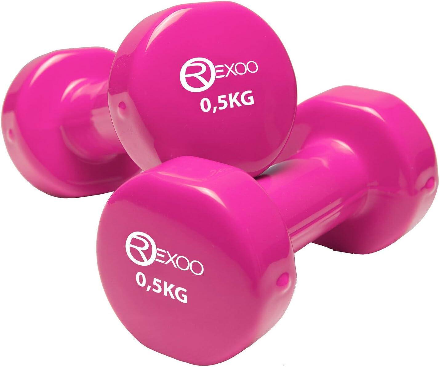 Gewichte 2er Set 2X 0,5kg bis 2X 5,0kg REXOO Vinyl Hanteln Kurzhanteln Gymnastikhantel